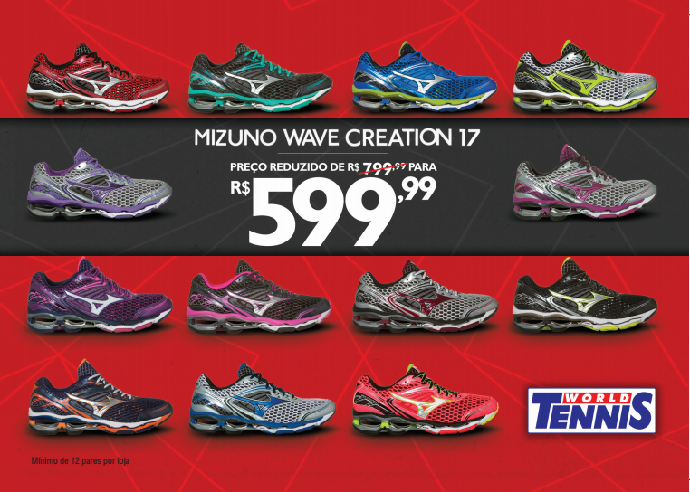 Mizuno Wave Creation 17 de R$ 799,99 reduzido para R$ 599,99
